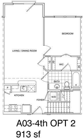 Floor Plan  1 Bedroom + Loft, 1 Bath 913 SF A3L.3