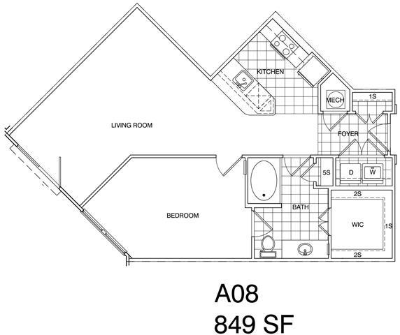 Floor Plan  1 Bedroom, 1 Bath 849 SF A8