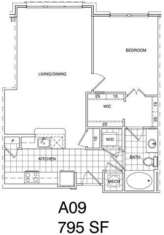 Floor Plan  1 Bedroom, 1 Bath 799 SF A9