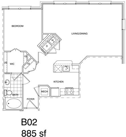 Floor Plan  1 Bedroom, 1 Bath 885 SF B2
