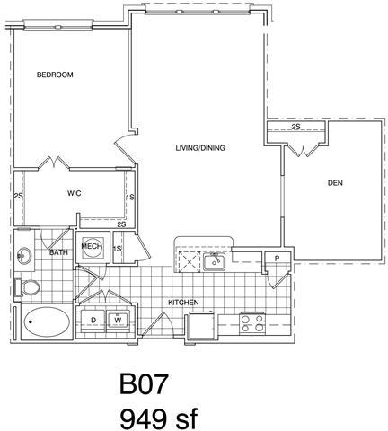 Floor Plan  1 Bedroom + Den, 1 Bath 949 SF B7