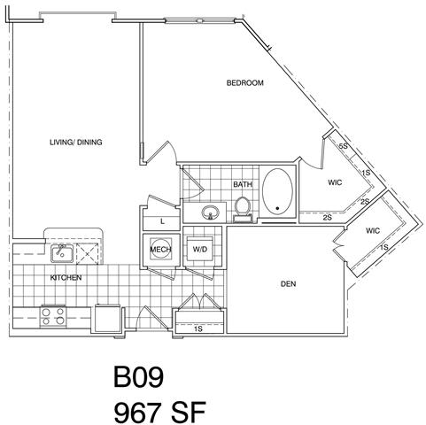 Floor Plan  1 Bedroom + Den, 1 Bath 966 SF B