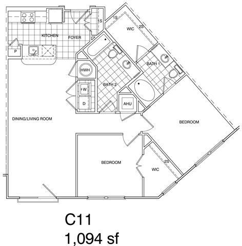 Floor Plan  2 Bedroom, 2 Bath 1094 SF C11