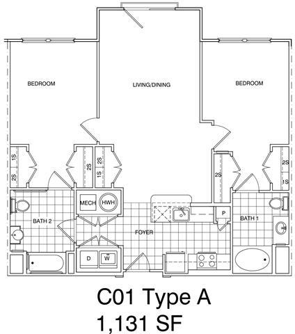Floor Plan  2 Bedroom, 2 Bath 118 SF C1.5