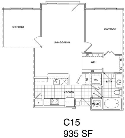 Floor Plan  2 Bedroom, 1 Bath 935 SF C15