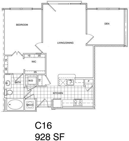 Floor Plan  1 Bedroom + Den, 1 Bath 928 SF C16