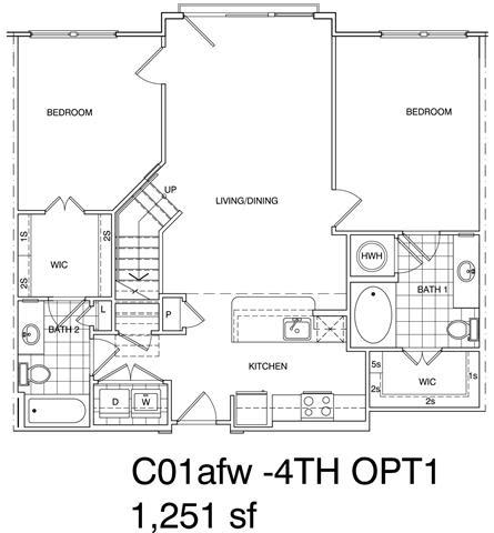 Floor Plan  2 Bedroom + Loft, 2 Bath 1251 SF C1L