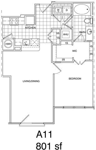 Floor Plan  1 Bedroom, 1 Bath 801 SF KA11