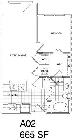 Floor Plan  1 Bedroom, 1 Bath 668 SF KA1.2