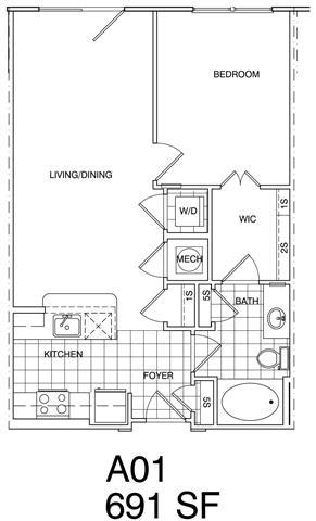 Floor Plan  1 Bedroom, 1 Bath 691 SF KA1