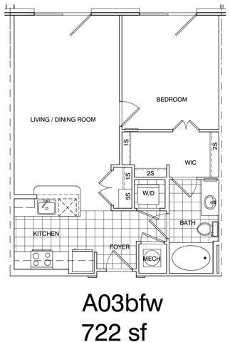 Floor Plan  1 Bedroom, 1 Bath 728 SF KA3.1