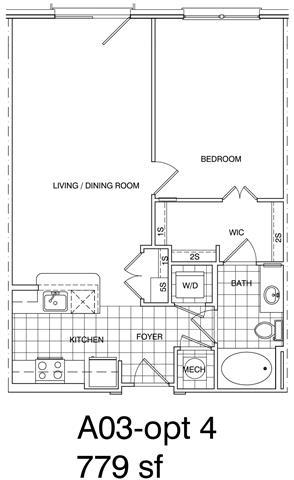 Floor Plan  1 Bedroom, 1 Bath 778 SF KA3.2
