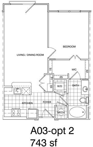 Floor Plan  1 Bedroom, 1 Bath 748 SF KA3.3