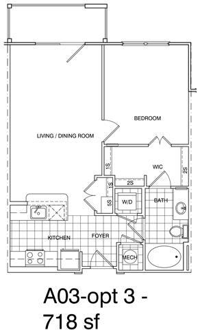 Floor Plan  1 Bedroom, 1 Bath 718 SF KA3