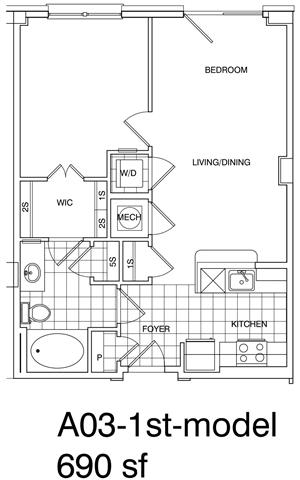 Floor Plan  1 Bedroom, 1 Bath 690 SF KA3B