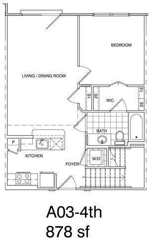Floor Plan  1 Bedroom + Loft, 1 Bath 878 SF KA3L1