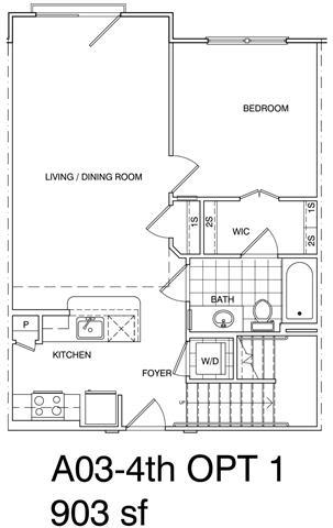 Floor Plan  1 Bedroom + Loft, 1 Bath 903 SF KA3L2