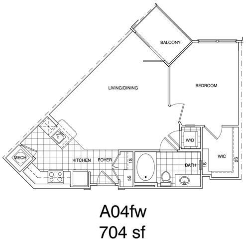 Floor Plan  1 Bedroom, 1 Bath 704 SF KA4