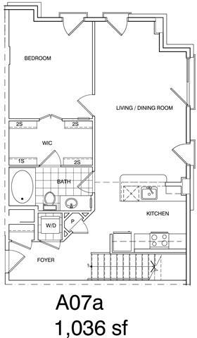 Floor Plan  1 Bedroom + Loft, 1 Bath 1036 SF KA7L1