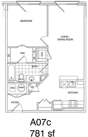 Floor Plan  1 Bedroom + Loft, 1 Bath 781 SF KA7LB