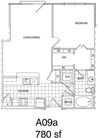 Floor Plan  1 Bedroom, 2 Bath 780 SF KA9