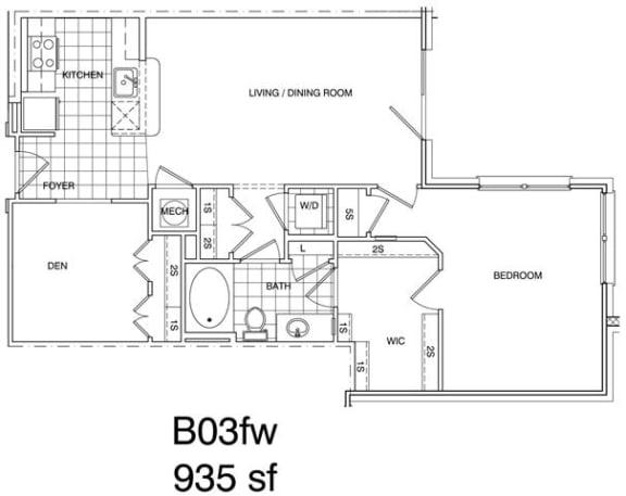 Floor Plan  1 Bedroom + Den, 1 Bath 938 SF KB3.1