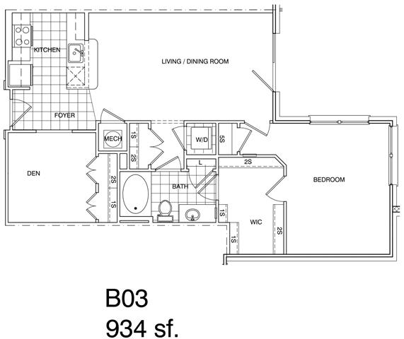 Floor Plan  1 Bedroom + Den, 1 Bath 934 SF KB3