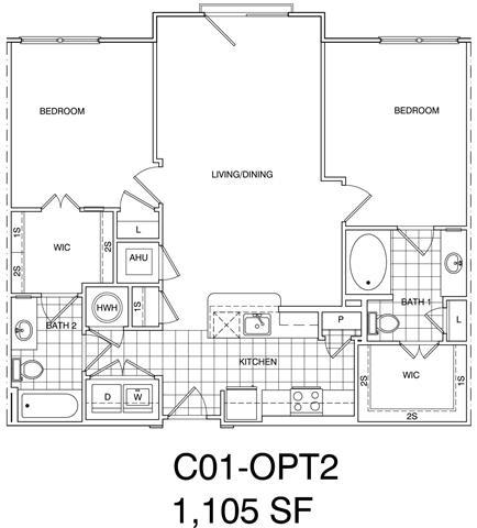 Floor Plan  2 Bedroom, 2 Bath 1105 SF KC1.4