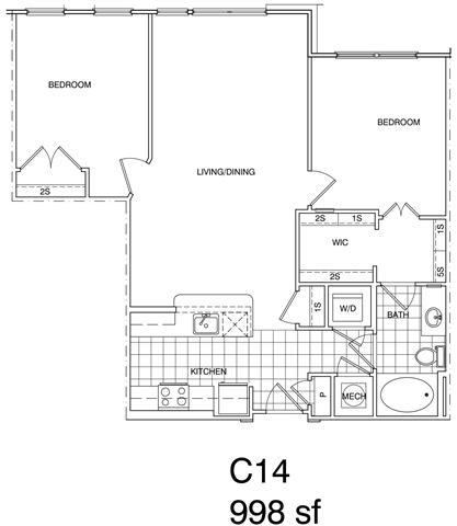 Floor Plan  2 Bedroom, 1 Bath 998 SF KC14