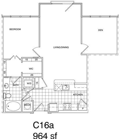 Floor Plan  2 Bedroom, 1 Bath 964 SF KC161