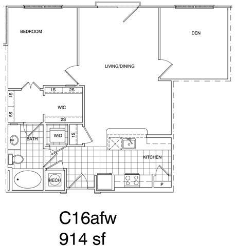 Floor Plan  2 Bedroom, 1 Bath 914 SF KC16