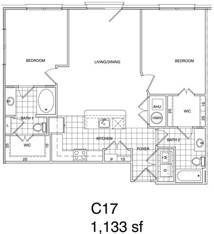 Floor Plan  2 Bedroom, 2 Bath 1133 SF KC17
