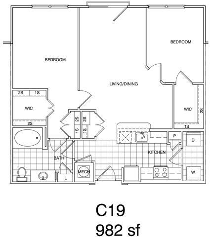 Floor Plan  2 Bedroom, 1 Bath 982 SF KC19