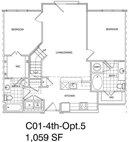 Floor Plan  2 Bedroom + Loft, 2 Bath 1059 SF KC1L2