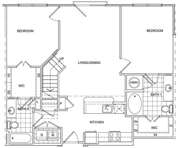 Floor Plan  2 Bedroom + Loft, 2 Bath 1214 SF KC1L5