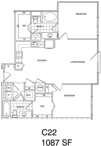 Floor Plan  2 Bedroom, 2 Bath 1087 SF KC22