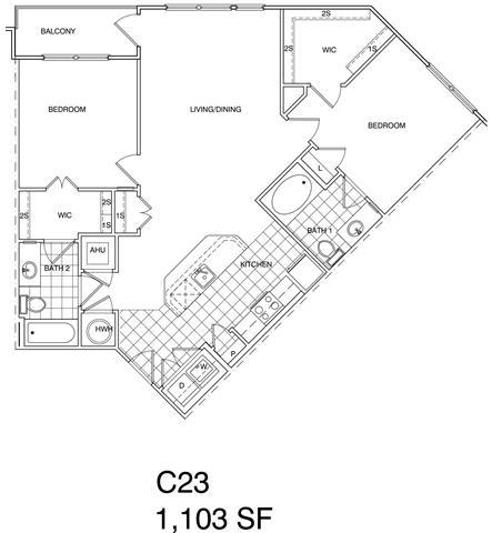 Floor Plan  2 Bedroom, 2 Bath 1103 SF KC23