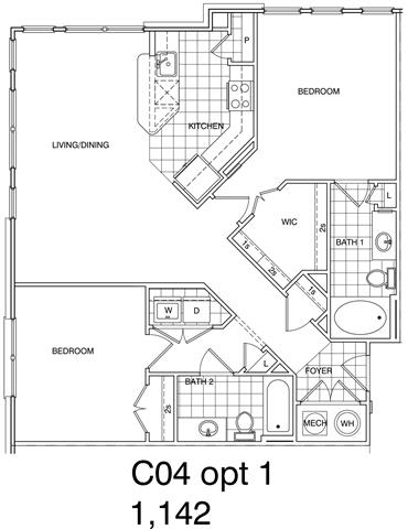 Floor Plan  2 Bedroom, 2 Bath 1142 SF KC4