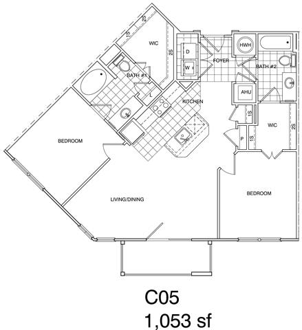 Floor Plan  2 Bedroom, 2 Bath 1053 SF KC5