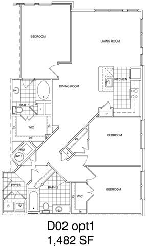 Floor Plan  3 Bedroom, 2 Bath 1482 SF KD2