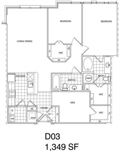 Floor Plan  2 Bedroom + Den, 2 Bath 1349 SF KD3