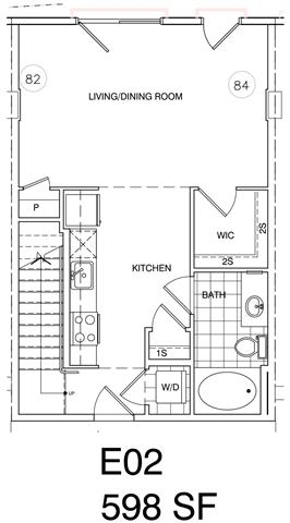 Floor Plan  Loft Studio 736 SF KE2L