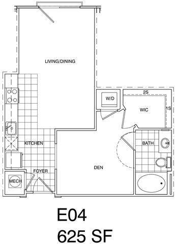 Floor Plan  1 Bedroom, 1 Bath 625 SF KE4