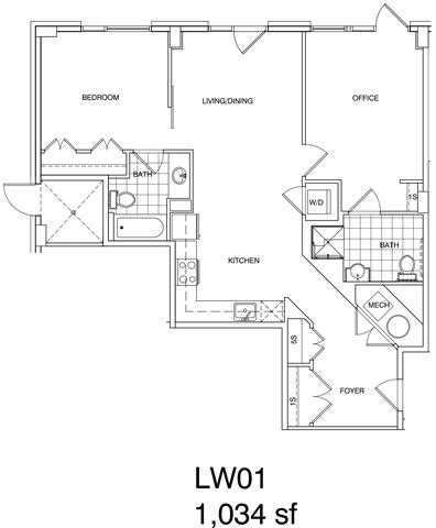 Floor Plan  1 Bedroom + Office, 2 Bath 1034 SF KLW1