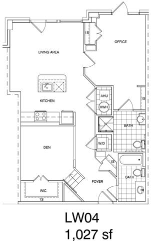 Floor Plan  1 Bedroom + Office, 2 Bath 1027 SF KLW4