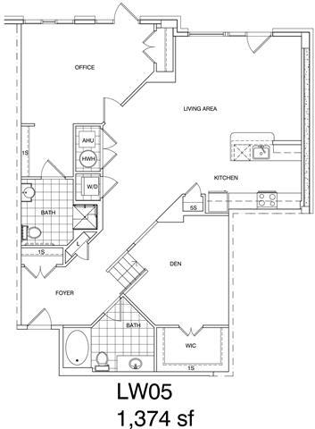 Floor Plan  1 Bedroom + Office, 2 Bath 1374 SF KLW5