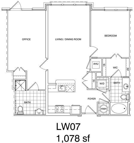 Floor Plan  1 Bedroom + Office, 2 Bath 1078 SF LW7