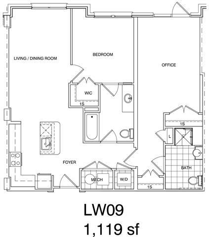 Floor Plan  1 Bedroom + Office, 2 Bath 1058 SF LW9
