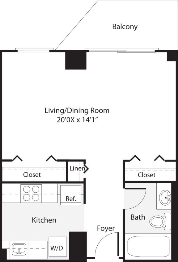 Floor Plan  Studio 458 SF S1