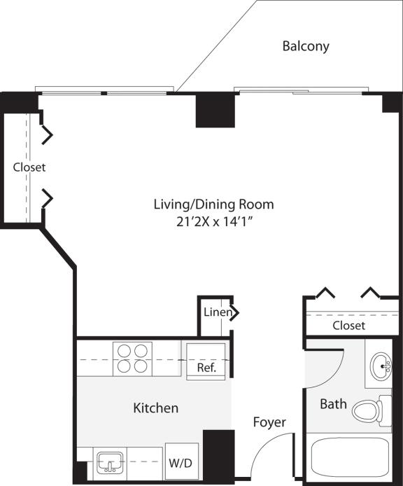 Floor Plan  Studio 483 SF S3